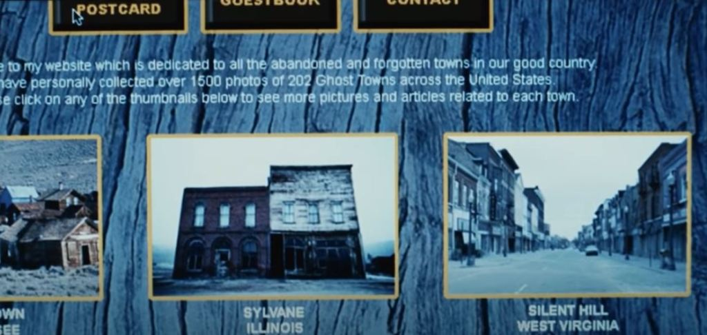 An image of dated looking personal website on ghost towns in America shows an image of Silent Hill, West Virginia as one of the ghost towns.